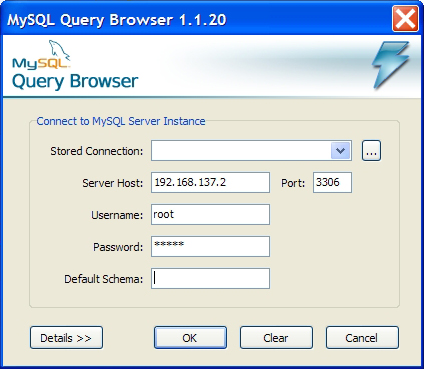 Окно авторизации в MySQL Query Browser